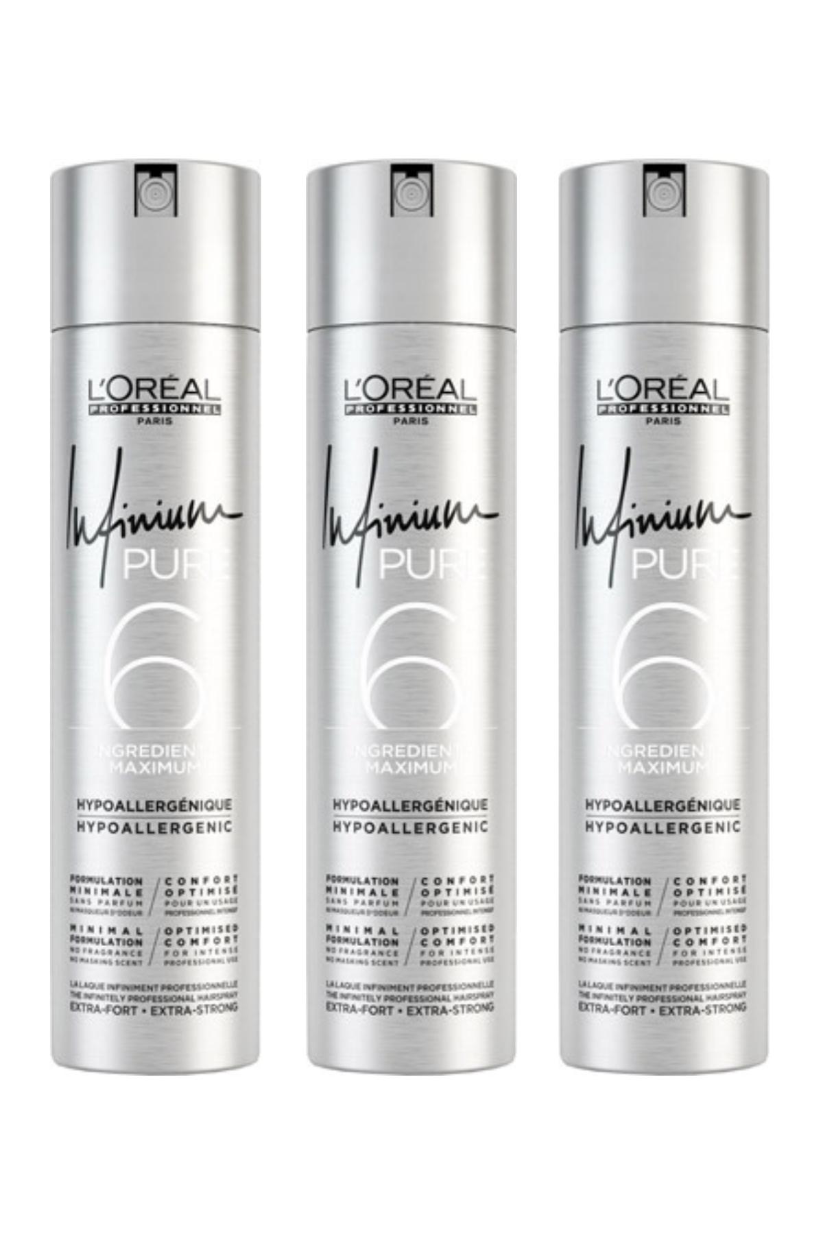 L'Oreal Paris İnfinium Pure Saç Spreyi 500 ml (Ultra Sert) x 3 Adet