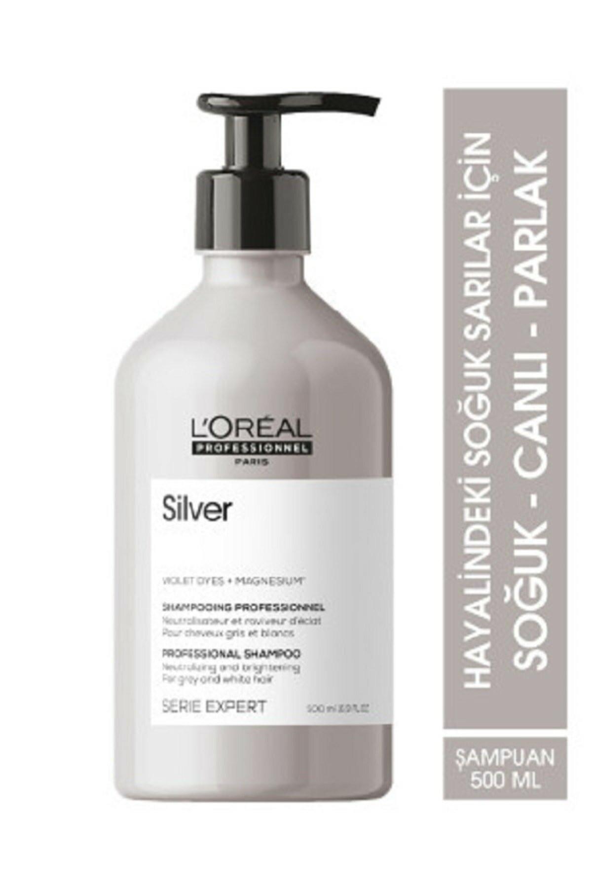 L'oreal Professionnel Serie Expert Silver Çok Açık Sarı Gri ve Beyaz Saçlar İçin Renk Dengeleyici Mor Şampuanı 500 ml