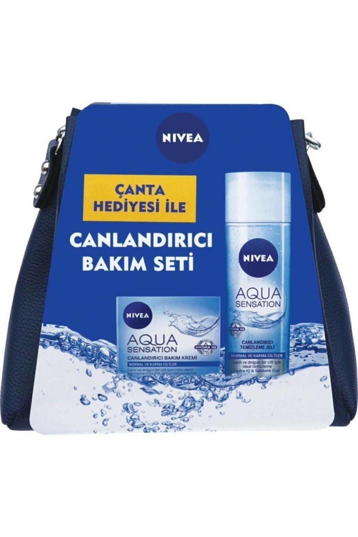 Nivea Canlandırıcı Bakım Seti Çanta Hediyeli Aqua Yüz Temizleyici Jeli 200 ml + Bakım Kremi 50 ml